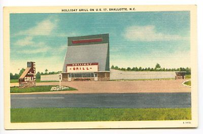 Shallotte NC Holiday Grill Drive-In Theatre Movies Postcard