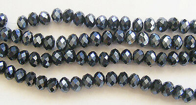 25 Crystal Rondelle Abacus Glass Beads Black 8mm x 6mm