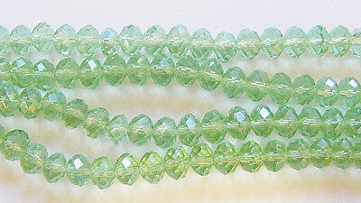25 Crystal Rondelle Abacus Glass Beads  Light Green - 8mm x 6mm