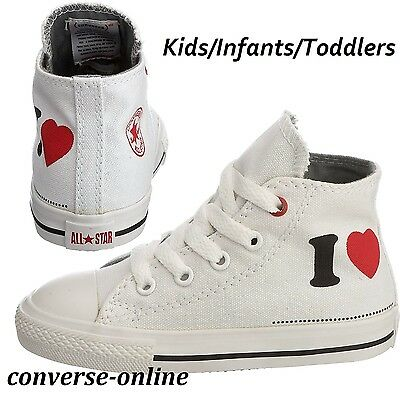 KID Boy Girl CONVERSE All Star (PRODUCT RED) I LOVE HI TOP Trainers 22 SIZE UK 6