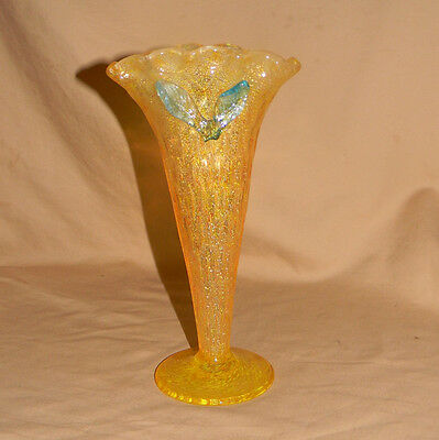 Vintage Bohemian Kralik Art Glass Vase with Applied Flower and Silver Leaf!  Wow