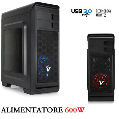 Case Pc Gaming Atx Cabinet Con Alimentatore 600Watt Usb 3.0 Hd-Audio Con Ventola