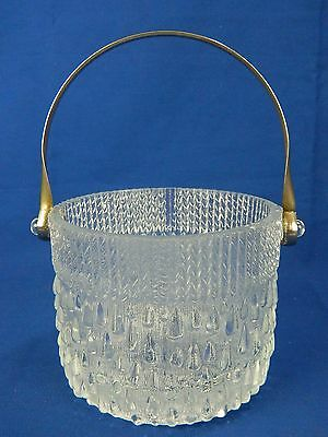 VINTAGE RAINDROP PATTERN CLEAR GLASS ICE BUCKET SILVER METAL HANDLE 1960's