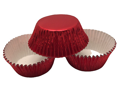 48 Red Foil Cupcake Liners Baking Cups Standard Size Cake Candy Decorations