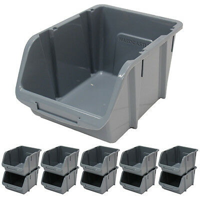 10 x LARGE GREY PLASTIC STACKING STORAGE BINS GARAGE/WORKSHOP/WORKBENCH BIN KIT