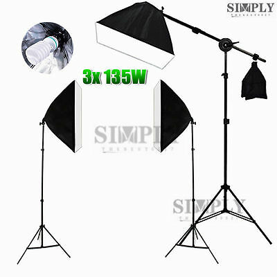 2025W Photography Studio Softbox Lighting Soft Box Boom Arm Light Stand Kit Set