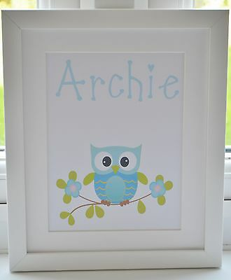 Personalised Baby Childs Bedroom Nursery Owl Name Print Boy Girl Framed Option