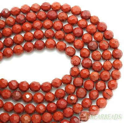 """Natural Red Jasper Gemstone Faceted Round Spacer Beads 6mm 8mm 10mm 12mm 15"""""""