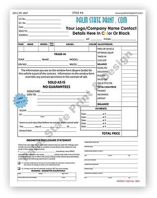 50 2 Part Custom Automotive Vehicle Car Bill Sale Invoice Form Carbonless Book
