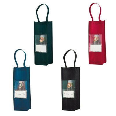 Wine/Bottle Carrier Bag Non-woven - clear front & pocket for your message - Gift