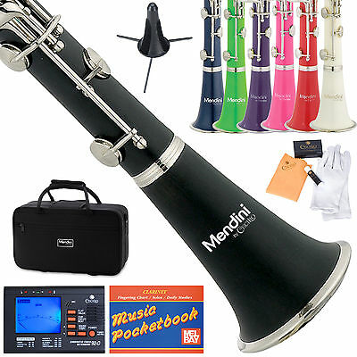 MENDINI Bb CLARINET ~BLACK BLUE GREEN PINK PURPLE RED WHITE +STAND,CASE,TUNER