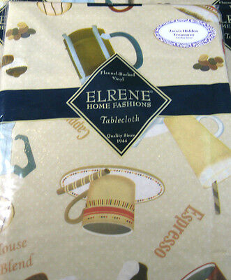 """Flannel back Vinyl Tablecloths by Elrene """"Cafe"""" Assorted Sizes Oblong & Round"""