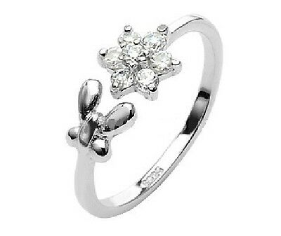 Toe Ring - 925 Sterling Silver - Butterfly & Flower - Adjustable & Gift Boxed