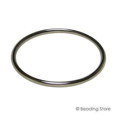 925 Sterling Silver 4mm x 63mm ID Golf Bangle Adults 71mm OD Round Tubing