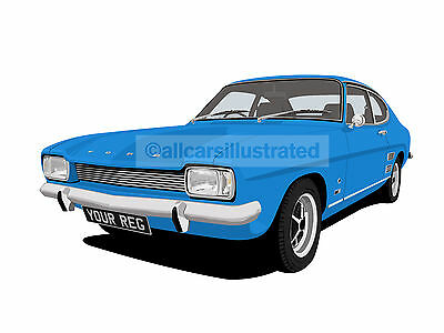 Ford Capri Mk1 Graphic Car Art Print Picture (Size A4). Personalise It!