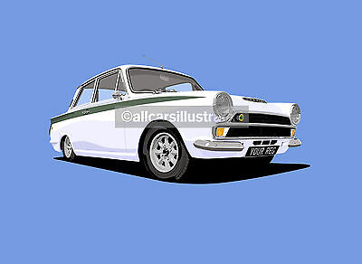 Lotus Cortina Mk1 Graphic Car Art Print Picture (Size A4). Personalise It!