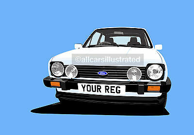 Fiesta Xr2 Mk1 Graphic Art Print Picture (Size A4). Personalise It!