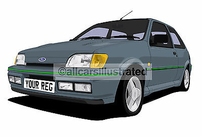 Ford Fiesta Rs Turbo Car Art Print Picture (Size A4). Personalise It!