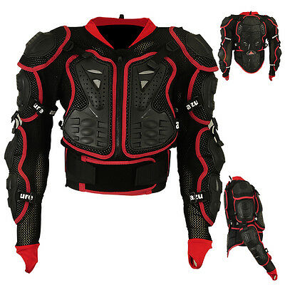 Motocross Motorbike Body Armour Motorcycle Protection Guard Jacket Blk Red XL