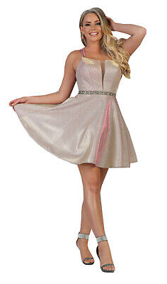 NEW SPECIAL OCCASION SHORT /& SHINY COCKTAIL V-NECK PARTY PROM DRESS WITH POCKETS