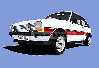 Ford Fiesta Supersport Car Art Print Picture (Size A4). Personalise It!