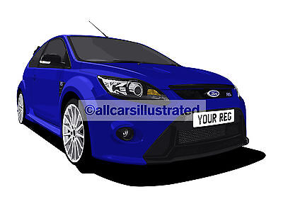 Ford Focus Rs Car Art Print Picture (Size A4). Personalise It!