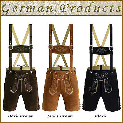 Authentic German Bavarian Oktoberfest Trachten Mens Short Lederhosen Traditional