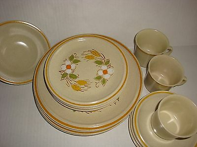 16 Piece Hearthside Garden Festival Handpainted Stoneware Dishes Japan
