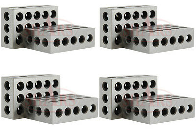 "SHARS 4 Matched Pair (8)  1-2-3 123 BLOCK Set Precision 0.0001"" 23 Holes NEW"