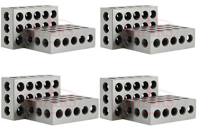 "Shars 4 Matched Pairs 8 Pcs Precision 123 1-2-3 Blocks Block 23 Holes .0002"" New"