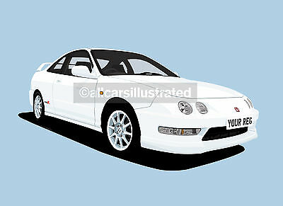 Honda Integra Type R Dc 2 Car Art Print Picture (Size A4). Personalise It!