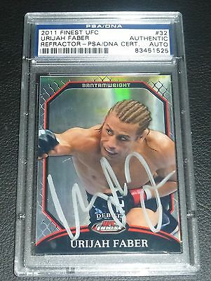 Urijah Faber Signed UFC 2011 Topps Finest Refractor Card #32 PSA/DNA COA Auto'd