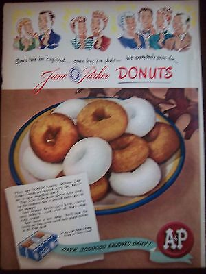 1946 Vintage A&P Jane Parker Donuts Doughnuts Powdered and Plain Ad