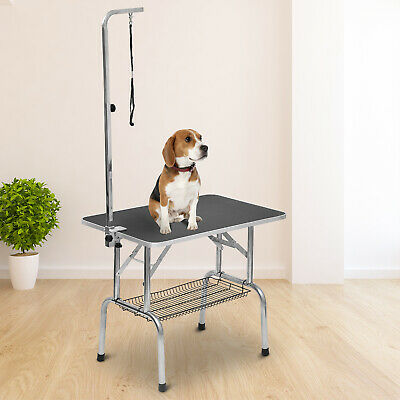 PawHut Pet Grooming Table w/ Removable Basket Portable Arm Rope Loop