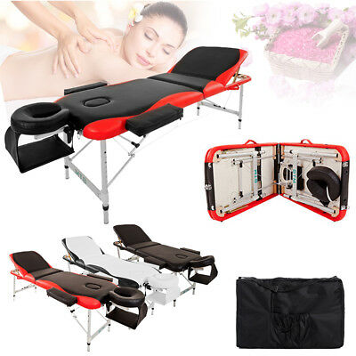 Portable Massage Table Aluminum Beauty Massage Bed Therapy SPA Couch 3 Section