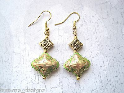 *ORIENTAL STYLE GREEN CLOISONNE RHOMBUS BEAD* GP Charm Earrings Diamond GIFT