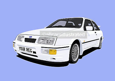 Ford Sierra Rs Cosworth Car Art Print Picture (Size A4). Personalise It!