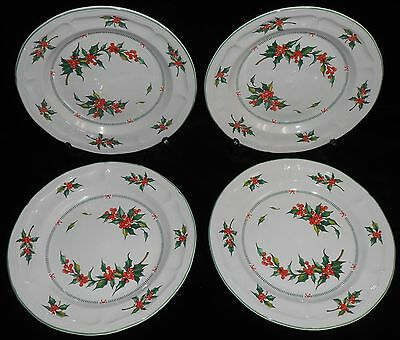 Set (4) Tabletops Unlimited CHRISTMAS HOLLY PATTERN Salad Plates