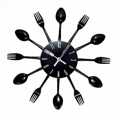 Cutlery Wall Clock Metal Spoon Fork Home Utensil Black Kitchen Time 38 CM New