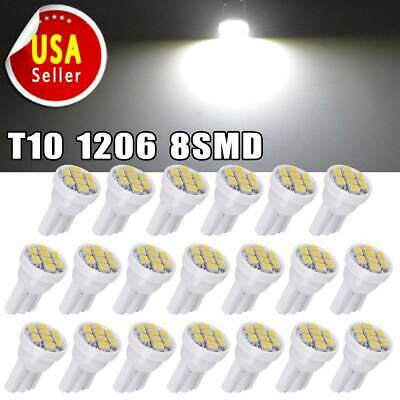 20 X Car White T10 LED 8smd Side Wedge Light Bulb W5W 194 168 2825 501 192 158