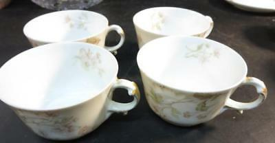 4 JP Limoges Cups ONLY Pink & Green Floral Decoration