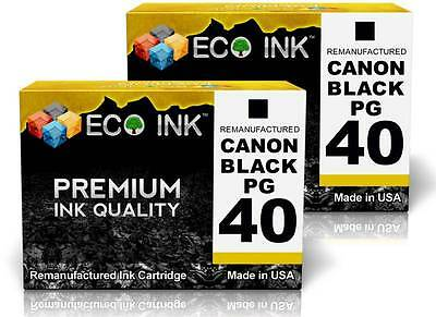 ECO INK © For Canon PG-40 PG 40 Black Ink For PIXMA MP140 MP150 MP160 MP170 2 Pk
