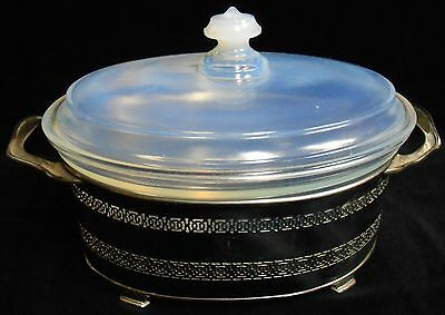 1920s-30s White Opalescent FRY GLASS Oval Cov'd Casserole w/Holder