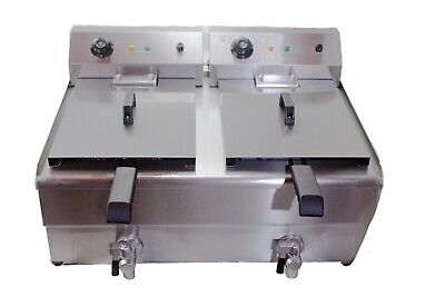 Large Commercial Fryer Electric Twin Basket 19 Litre Double Tank Fish Chips etc