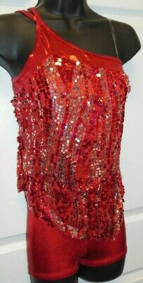 NWT Sequin Dance Costume Jazz 3 Colors Sheer top w/ foil booty shorts ch/ladies