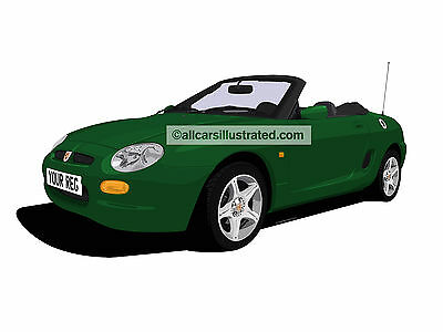 Mg Mgf Car Art Print Picture (Size A4). Personalise It!