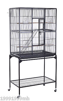 PawHut Metal Wire Bird Cage Pet Parrot Finch Macaw Cockatoo w/ Removable Tray