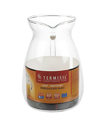 Termisil Heat Proof Resistant Jug Borosilicate Clear Glass Pitcher Hot & Cold
