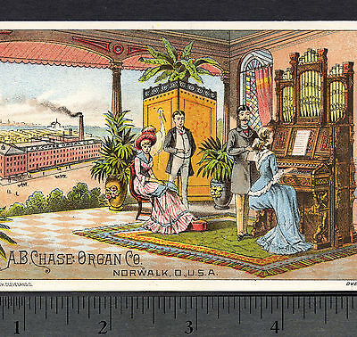 1800's A.B. Chase Organ Co Norwalk Ohio Factory Victorian Advertising Trade Card