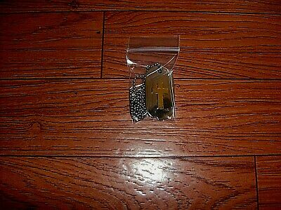 U.s Military Style Dog Tag And Chain With Christian Gold Cross Insignia New